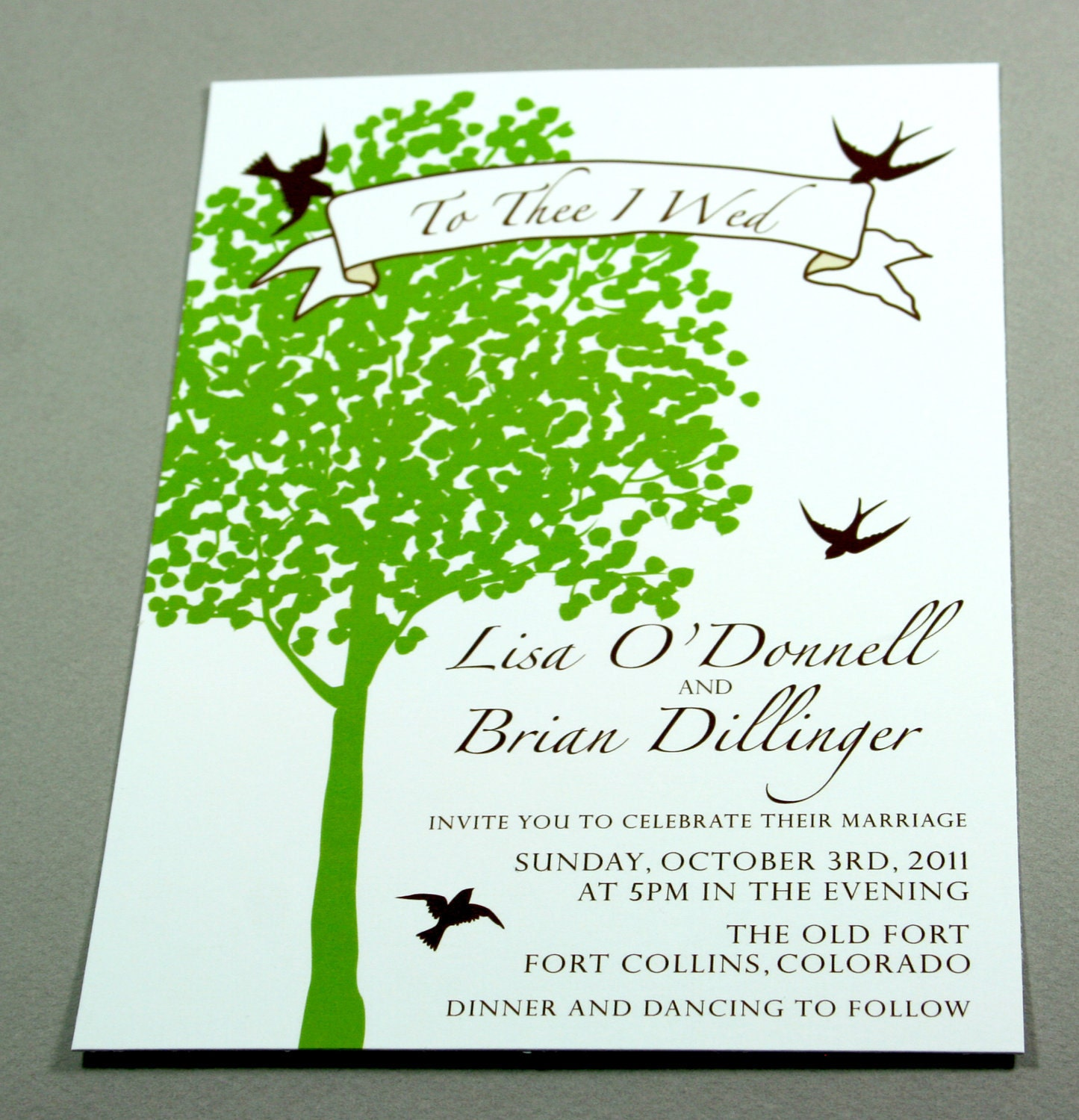 Modern Rustic Tree Wedding Invitation with Birds custom colors and words
