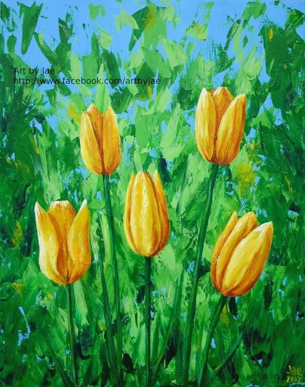 Yellow Tulips Art Print, 10x8 Giclee Print of Realistic Yellow Tulips on Green and Blue Background Home Decor Wall Art - artbyjae