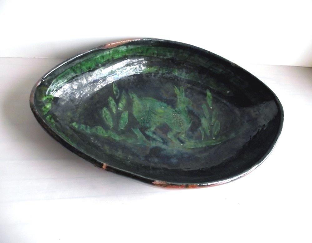 Vintage 50s Ceramic Platter. Decorative Platter. Jackrabbit Motif.