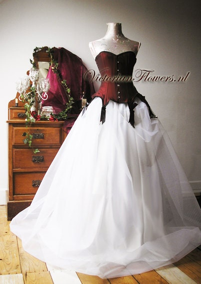 Gothic couture noir ball gown wedding dress with steel boned victorian