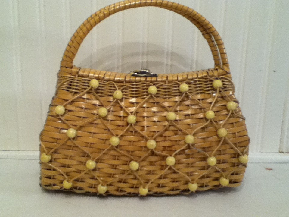 Vintage, Wicker, Woven, Beaded Purse, Retro Purse, Vintage Handbag, Vintage Brown Handbag, Vintage Purse