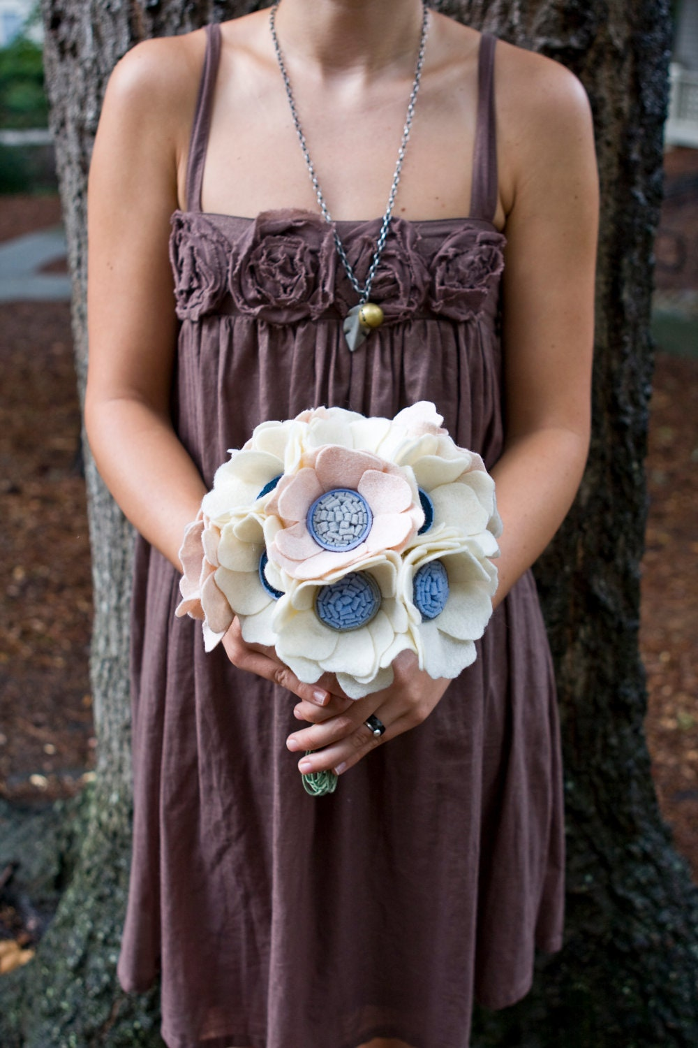 The Little Heather Wedding Bouquet - Felt Flower - Custom - Made to order - Beach Wedding-