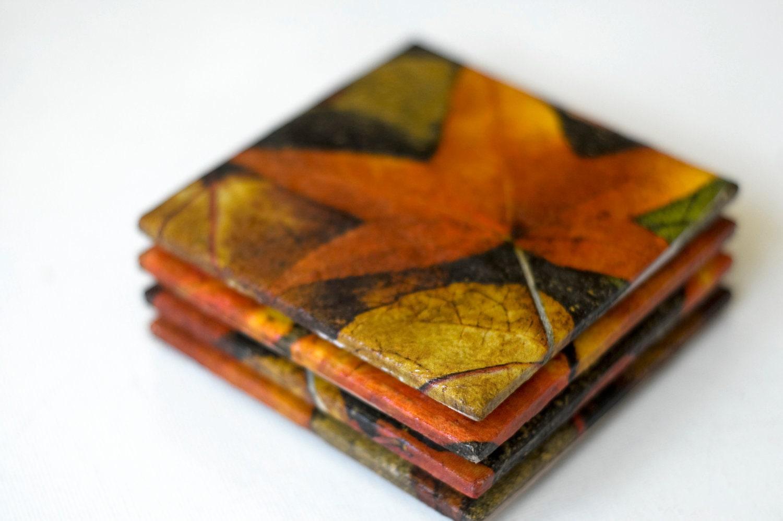 Autumn coasters, ceramic tile coasters, Autumn Leaves - mayagencic