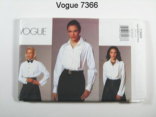 Vogue Blouse Pattern 7366 - Misses' Pleated Front/Tuxedo Shirts - SZ 18/20/22