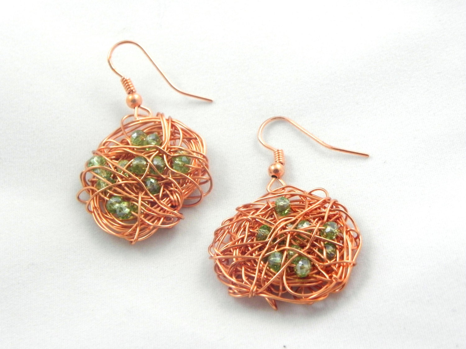 copper wire wrapped earring with mint green glass bead detail, bird nest earring, rose gold earring - MyALaModeBoutique