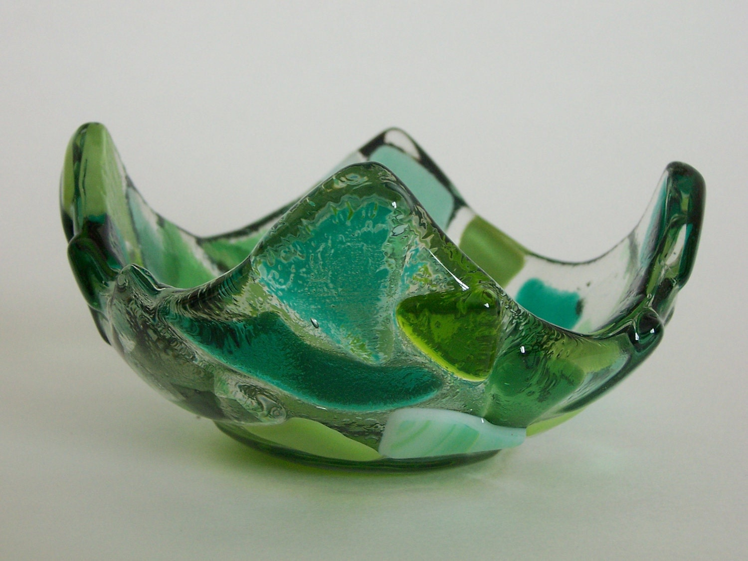 Fused Glass- Votive- Bowl- Green Lily Pad - Candleholder- Dip Dish-  Mosaic- Teal, Aqua, Lime - JacksonGlassMill