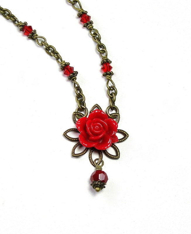 Rose Red Vintage Style Swarovski and Lucite Pendant Necklace