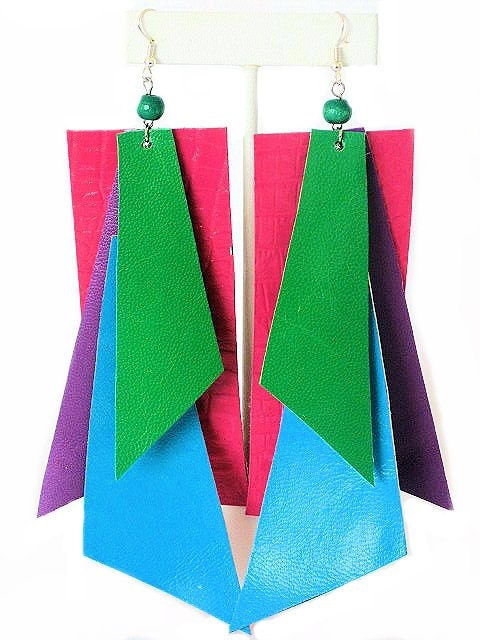 Neon Color Block Leather Earrings - Fuchsia, Purple, Blue, Green