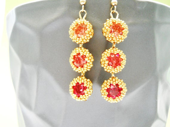 Persimmon to Pomegranate Swarovski Crystal Handbeaded Earrings - BlueheronBeadwork