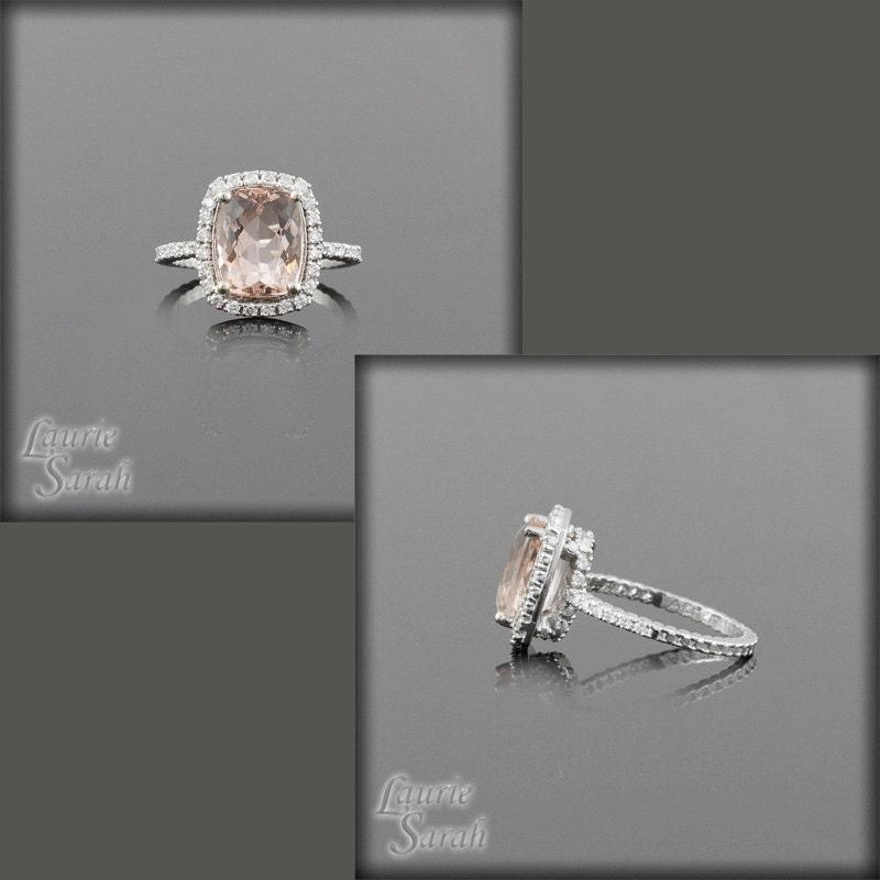 Cushion Cut Light Pink Morganite and Diamond Engagement Ring - LS2110