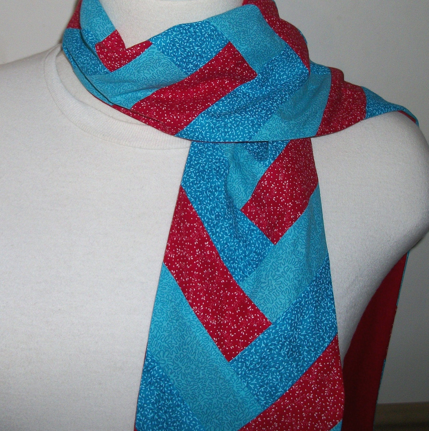 FREE SHIPPING///Crimson Red and Turquoise Blue Reversible Scarf by ps Blessed///Friendship Braid