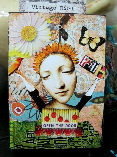 FAITH Mixed Media Altered Art Journal OPEN the DOOR
