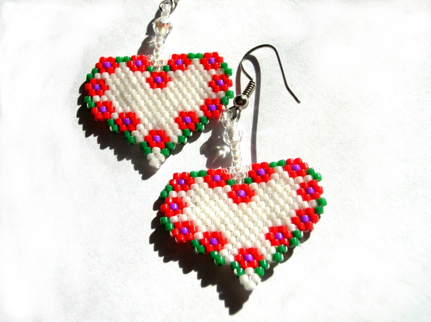 Flower Heart Delica Seed Beaded Dangle Earrings