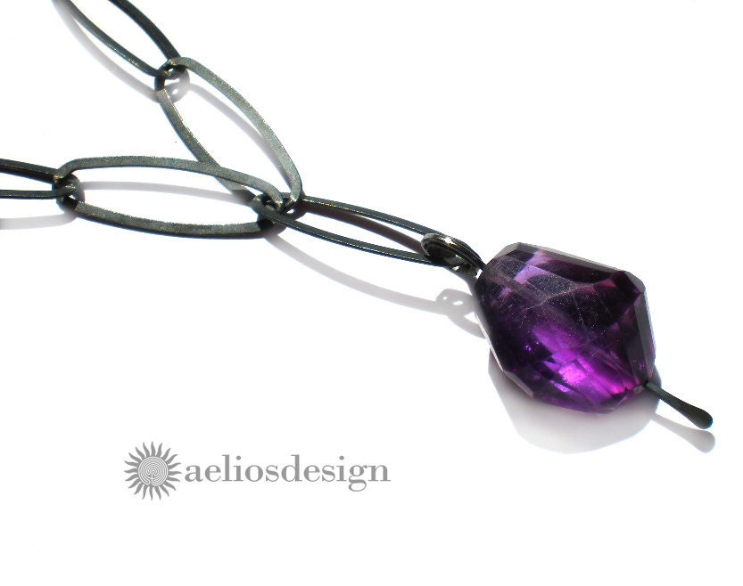 Genuine Amethyst Necklace Oxidised Sterling Silver Gemstone OOAK