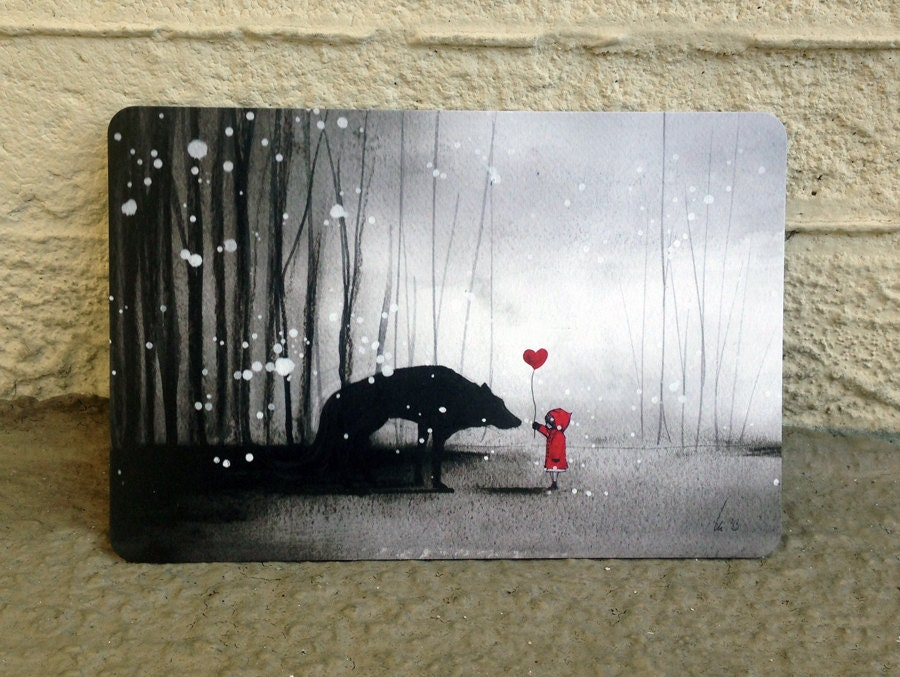 Little Red Riding Hood Be My valentine postcard
