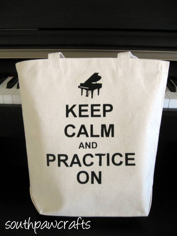 Keep Calm and Practice On Canvas Tote with Music Note or Grand Piano