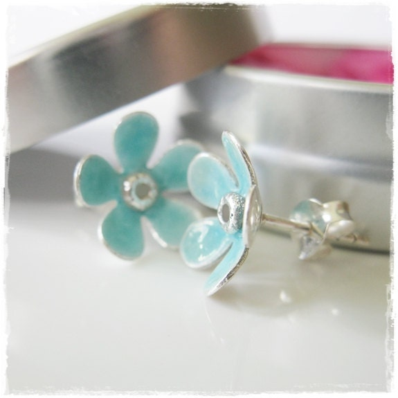 Daisy Flower Studs in Fine Silver with Aqua Blue Enamel on Sterling Silver Posts - rmdjewellery