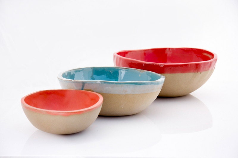 Nesting Bowls in red blue and coral kitchen decor - claylicious