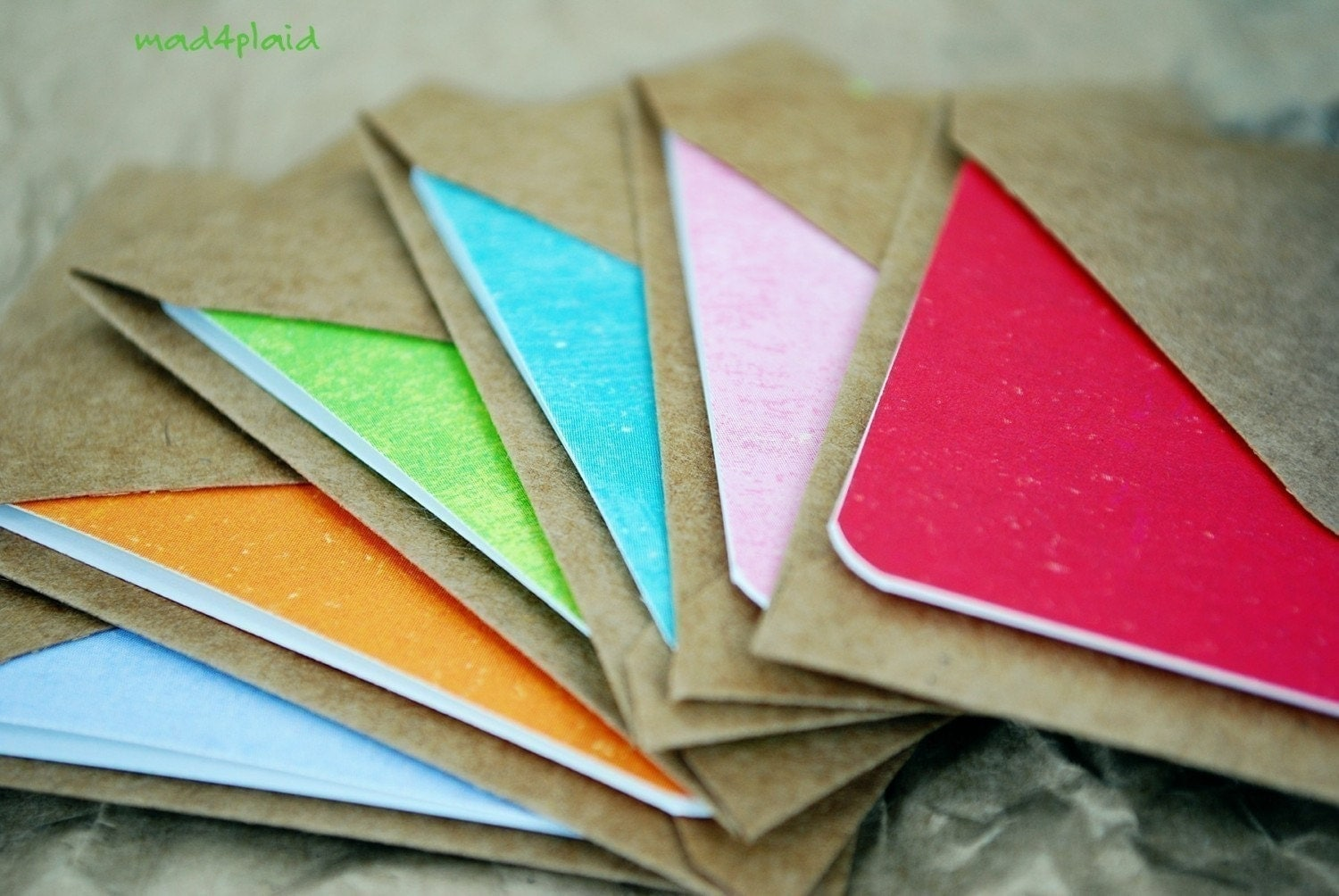 Blank Mini Card Set of 6, Spring Brights with Natural Kraft Envelopes, Handmade Paper Goods by mad4plaid on Etsy