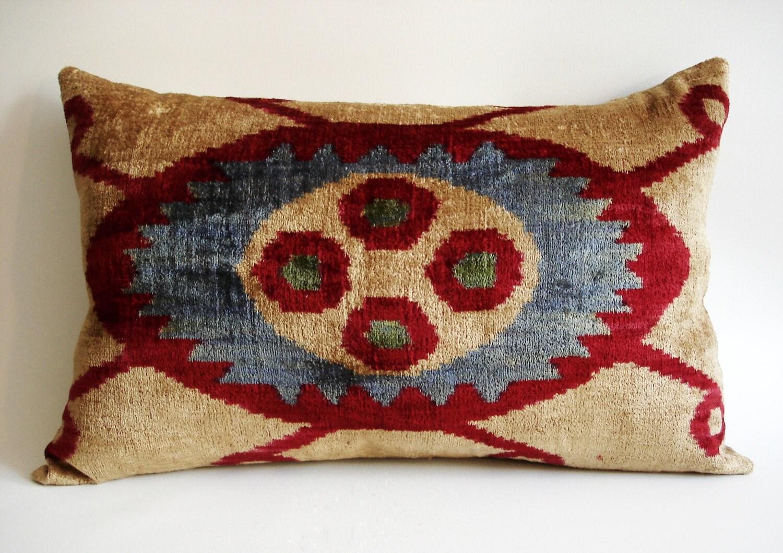Sukan / SALE Silk Velvet Ikat Pillow Cover - lumbar pillow cover - Decorative Pillows - Accent Pillow - Throw Pillow