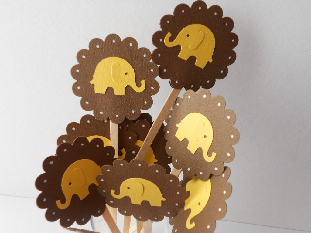 Elephant Cupcake Toppers Yellow and Brown  --Qty 12--Baby Shower--Birthday Party - sunshowerstuff