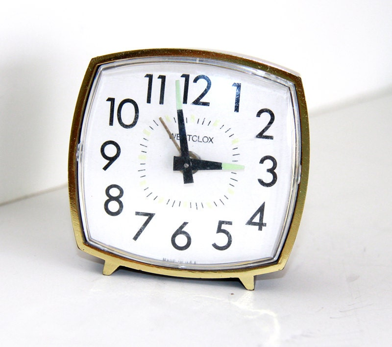 Wind Up Alarm Clock - Square Westclox Clock Mechanical - Vintage Retro - Made in USA - Gold Wood - LadyLyBoutique