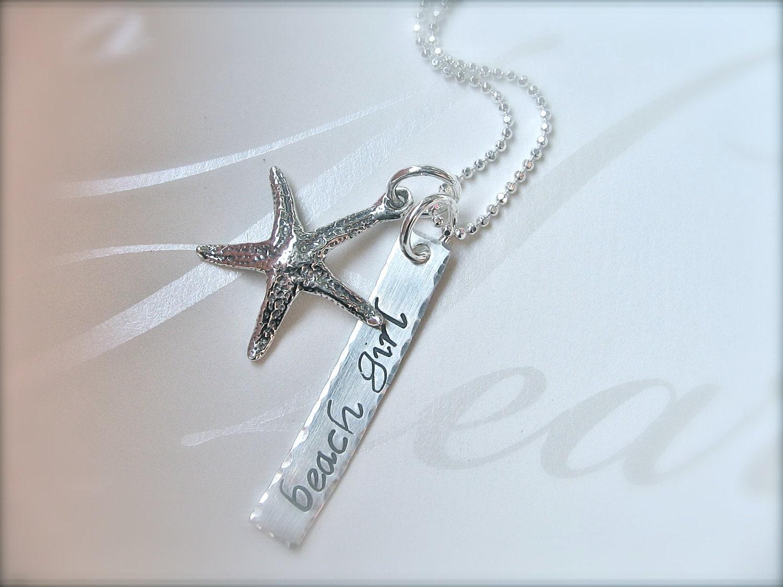 FREE SHIPPING - Beach Girl Starfish Necklace - Sterling Silver Beach Jewelry - Beach Girl Gift - Beach Starfish Jewelry