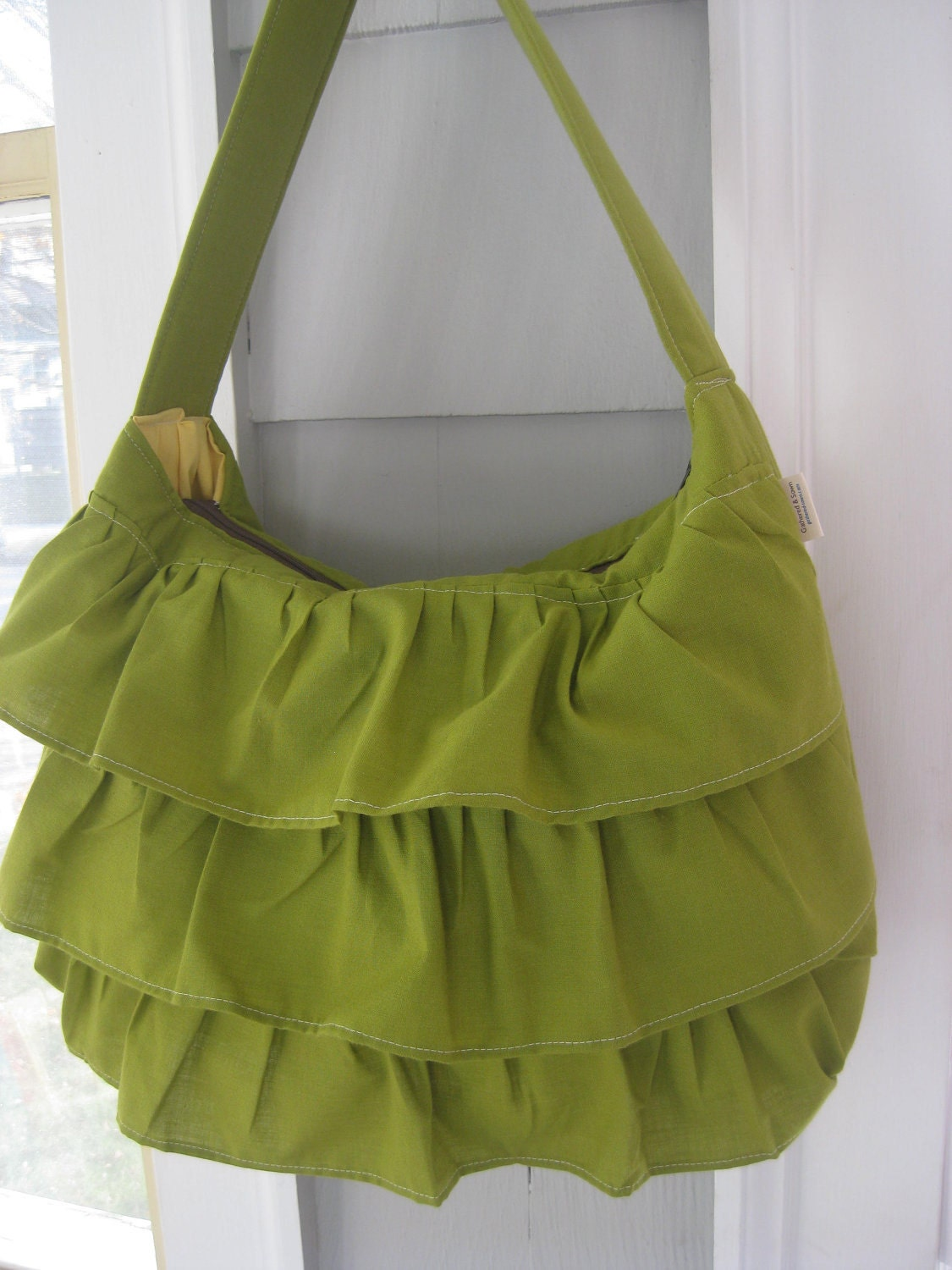 Avocado Green Ruffle Purse Large with Shoulder Strap in Rich Vintage Cotton
