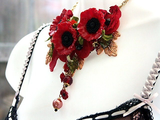 Red Poppy Statement Necklace 'RAGDOLL WILD POPPIES' Boho Chic, An Original Design by Katherine Cooper