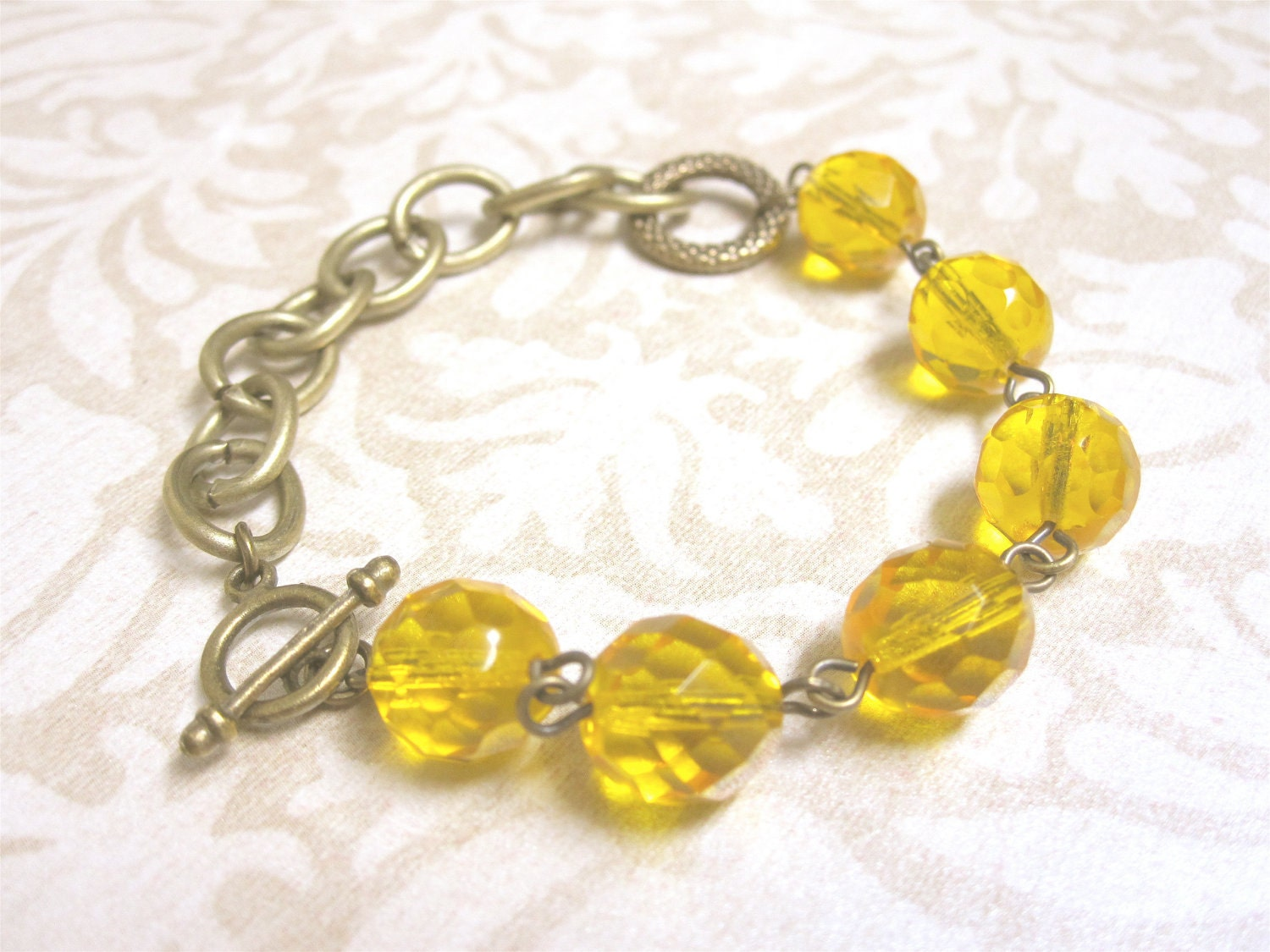 Bracelet Yellow Czech Glass Beads and Antiqued Brass - kbjhandmade