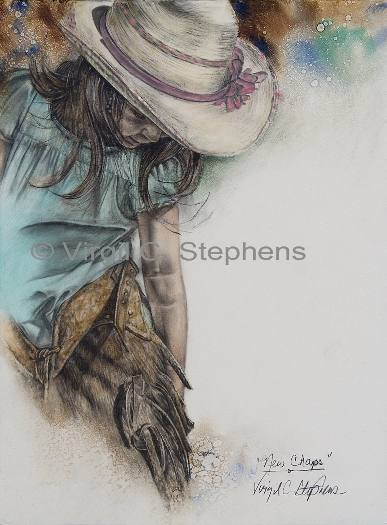 New Chaps, print from the original oil painting of a young cowgirl putting on her new chaps - notevena