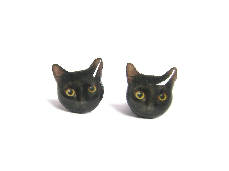 Cute Black Cat Kitten Halloween Stud Earrings - A14E84 - fazjewelry