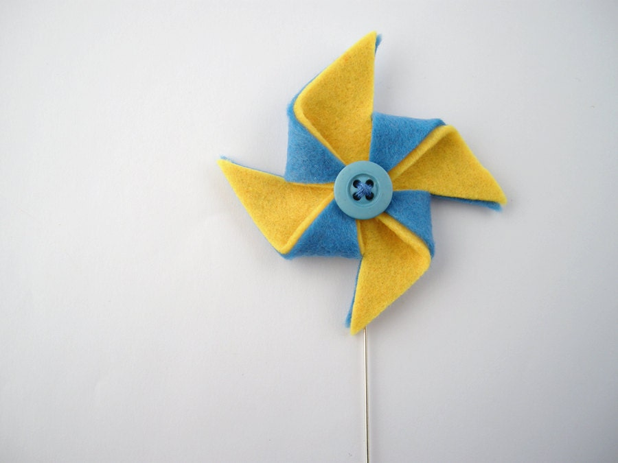 Pin wheel brooch - Yellow and blue pinwheel jewelry - metal stick pin brooch - FishesMakeWishes