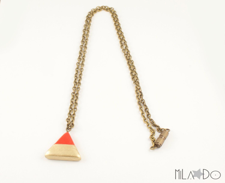 Collier Triangle rouge doré, chaîne bronze