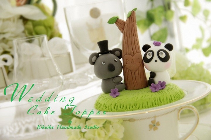 LOVE ANGELS Wedding Cake Topper-love Koala and Panda  with tree