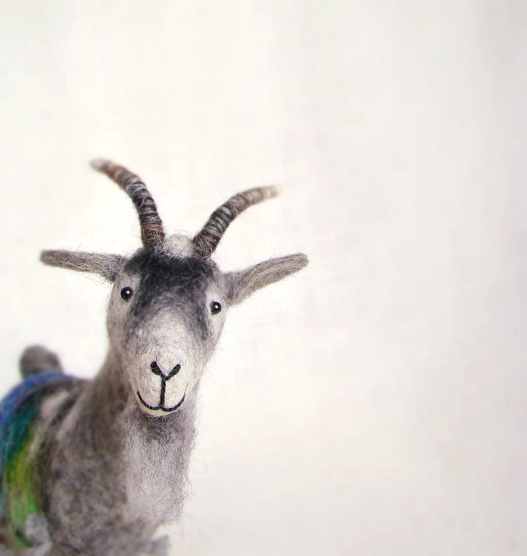 Waldemar -  Felt Goat. Art Doll Puppet, Marionette, Felted, StuffedToy. grey, gray, black, blue, green. Special order for Vanessa. - TwoSadDonkeys