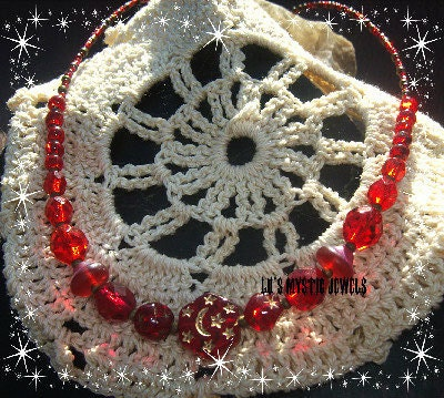 Star Moon Necklace Red Glass Beaded Chakra Jewelry Direct Checkout Black Friday Etsy - Lusmysticjewels