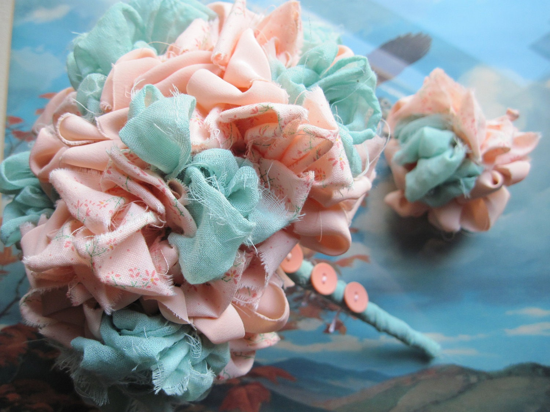 Bouquet Flor Handmade Vintage Fabric