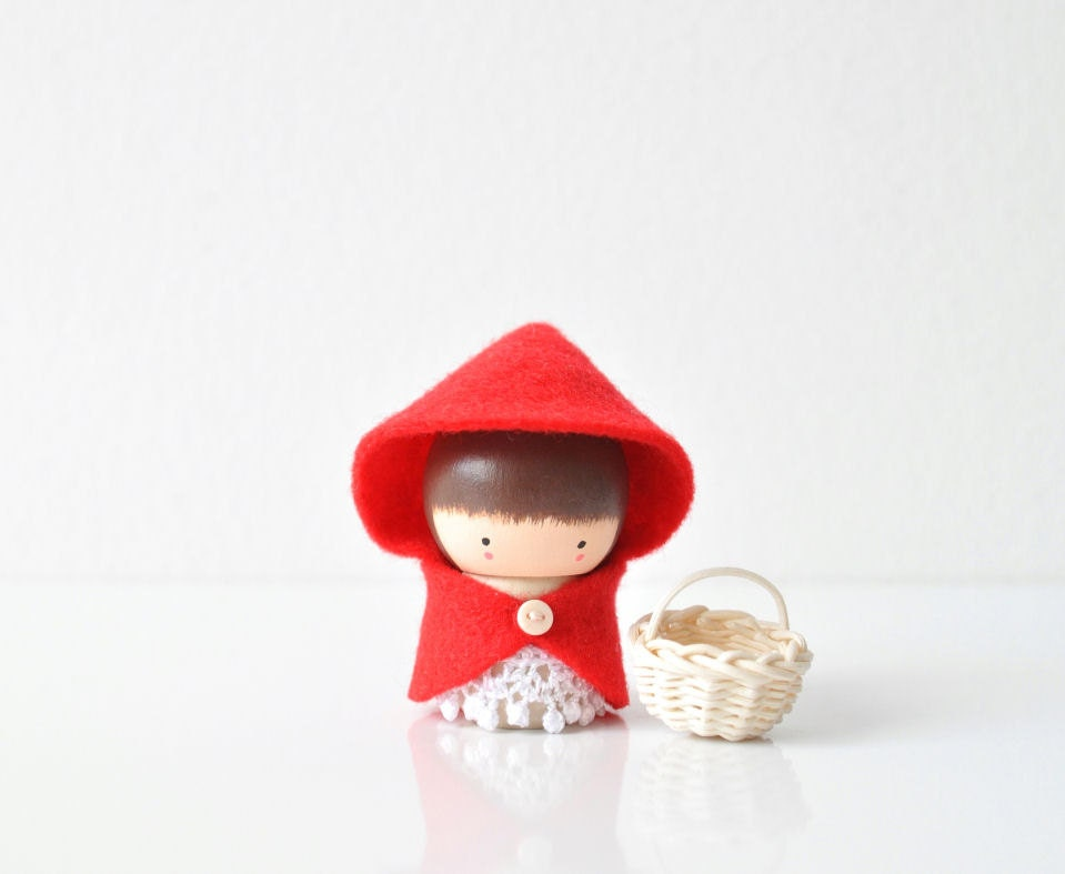 Cute Little Red Riding Hood Wooden Figurine