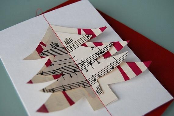 Винтаж ноты Рождественская открытка - ручная работа, все уникальные