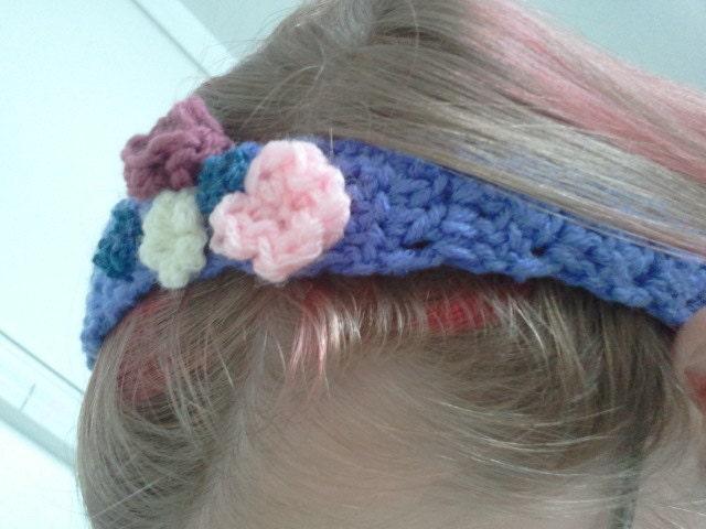 Lavender crochet flower headband - SewAndPray