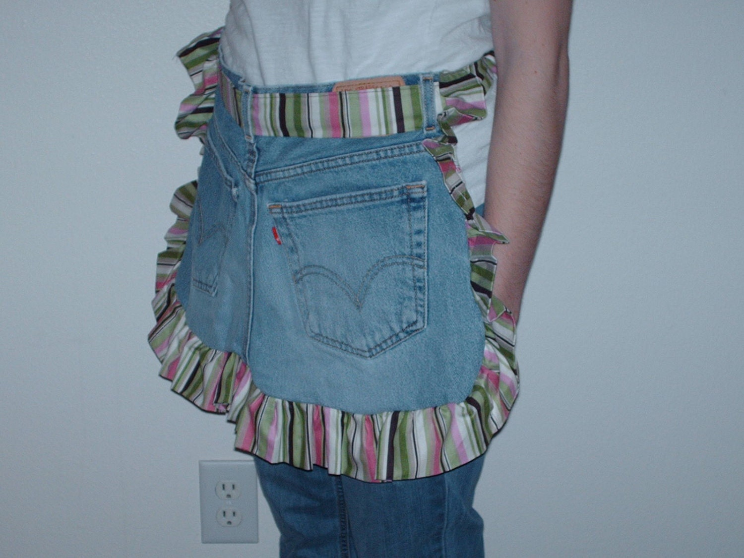 Upcycled Levi Cotton Pink,Green,and Brown Striped Half Apron