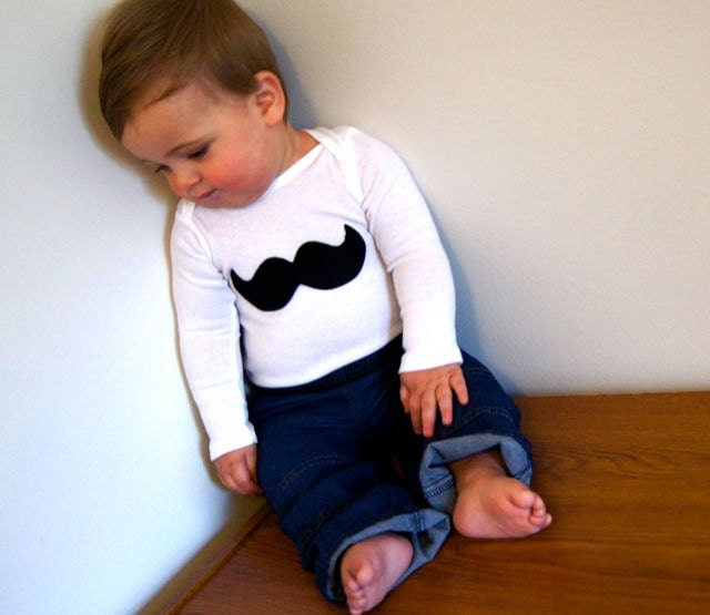 Hipster Baby--Artsy Baby--Boy Photo Prop--Baby Boy--Vintage Inspired Mustache--Black--Custom Made to Order