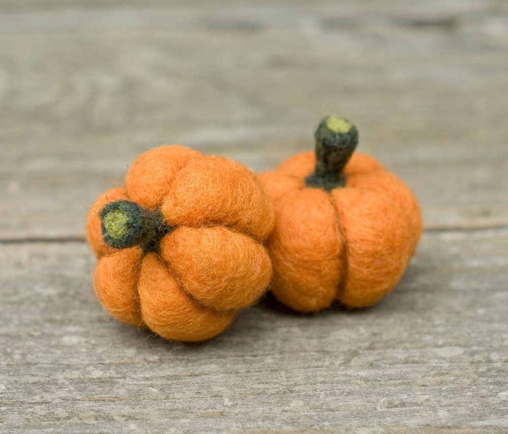 Needle Felted Pumpkin - Set of Two - scratchcraft