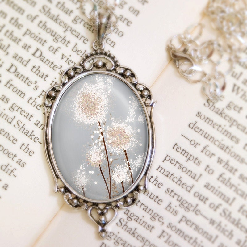 Dandelion Wedding Necklace (silver) - Silver Pendant - Perennial Moment (silver) - Wearable Art with Silver Chain - feverbloom