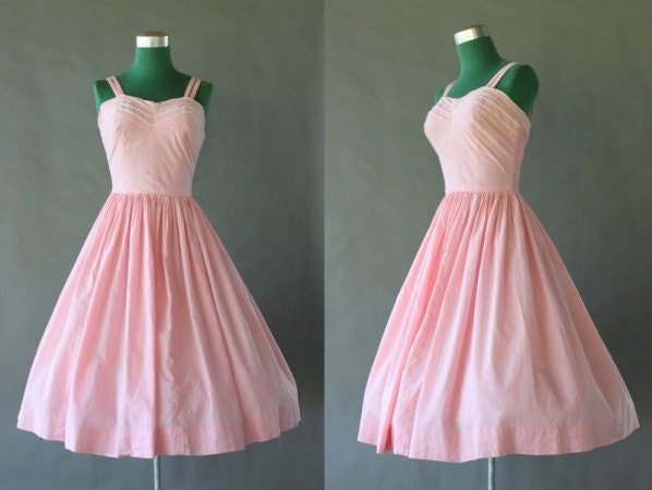 1950s Sundress - Smocked Pink Cotton Full Skirt 50s Dress