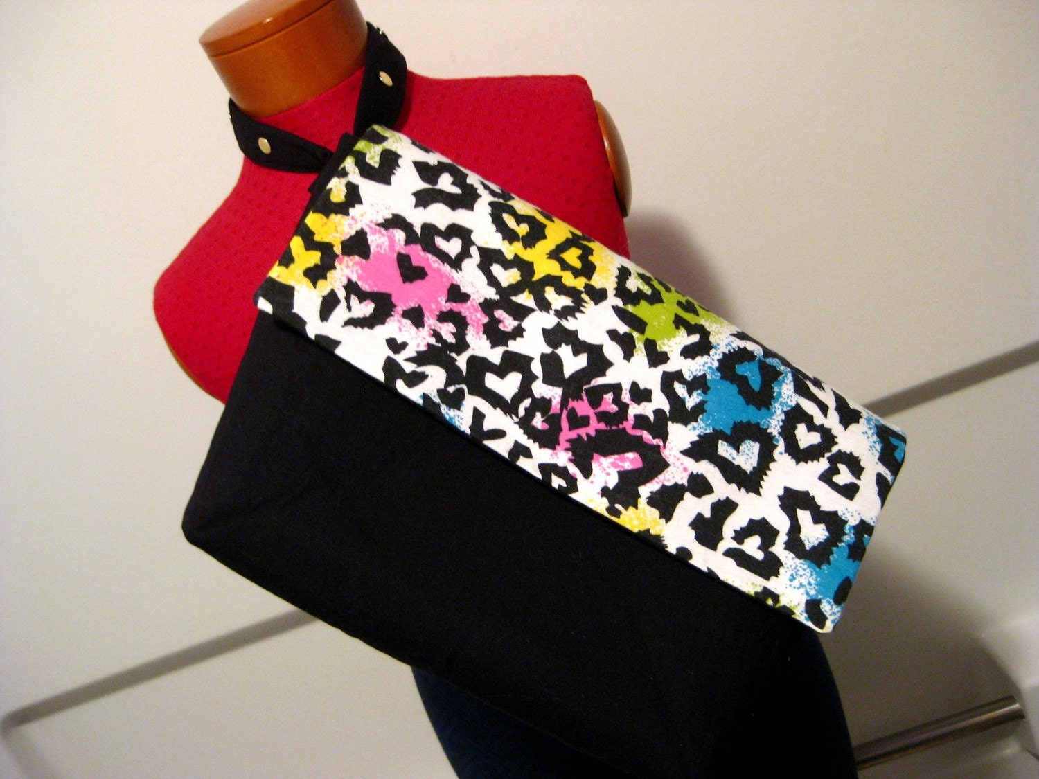 Upcycled Multi-Colored Leopard Print and Black Big Rakc Extra Large Wristlet
