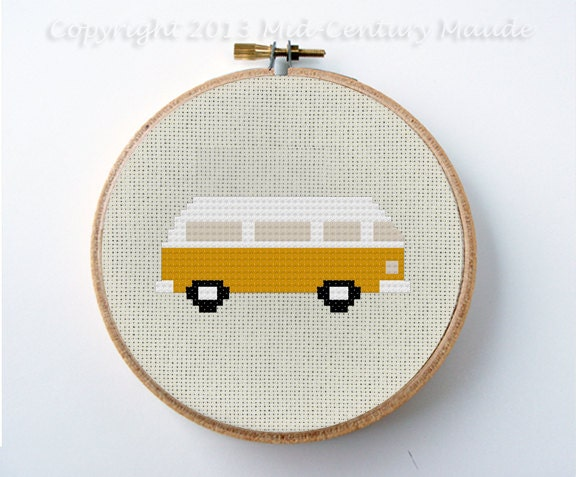 Volkswagen Bus Cross Stitch Pattern Digital Needlepoint PDF Download VW easy