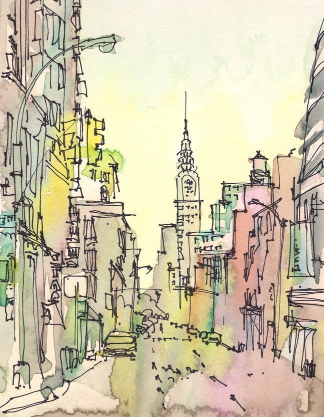 New York, Chrysler Building, world traveler - 8x10 print in pastels