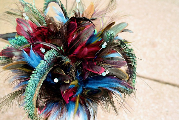 Bridal bouquet Peacock Blast feather wedding bouquet for Bride or